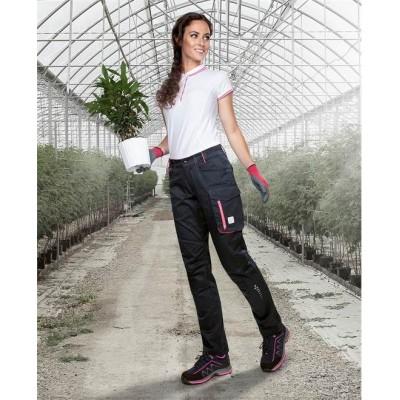 Kalhoty pas FLORET černo-růžová